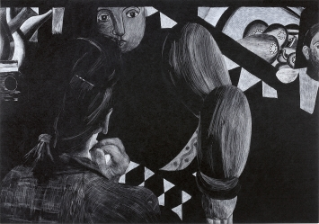 EberliMantel, vor Fernand Léger, 2020, Weisskreide auf Papier, 70x100cm