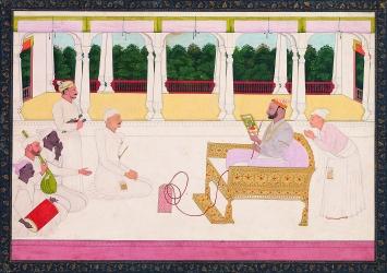 Nainsukh von Guler · Raja Balwant Singh von Jasrota betrachtet mit dem Maler Nainsukh ein Bild, 1745–50, Jasrota, Pahari-Gebiet, Indien, Geschenk Balthasar und Nanni Reinhart, Barbara und Eberhard Fischer, Museum Rietberg