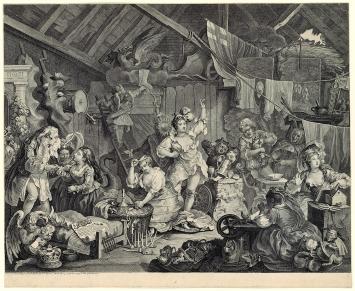 William Hogarth · Wanderkomödiantinnen beim Ankleiden in einer Scheune, 1738, Radierung und Kupferstich auf Papier vergé, Graphische Sammlung ETH Zürich
