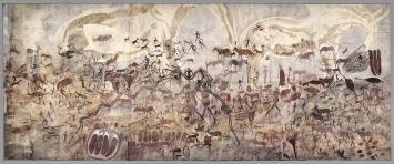 Joachim Lutz · Grosse Elefanten, weitere Tiere sowie Menschen in vielen Schichten gemalt, Simbabwe, Mutoko, 1929, Aquarell auf Papier, 283x678,5cm, CourtesyFrobenius-Institut
