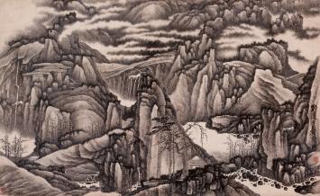 Gong Xian (1619–1689) · Tausend Gipfel und zehntausend Täler, Qing-Dynastie, um 1670, Hängerolle, Tusche auf Papier, 62x102cm, Geschenk Charles A. Drenowatz, Museum Rietberg.Foto: Rainer Wolfsberger