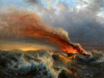Johann Jakob Ulrich · Brennendes Dampfschiff auf stürmischer See, 1850–1853, Öl auf Leinwand, 98x131cm, Museum der bildenden Künste Leipzig