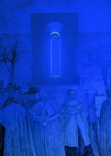 Pamela Rosenkranz · Alien Blue Light, 2018, mit Paul Bodmers Freskenzyklus, 1924–34.Foto: Marc Asekhame