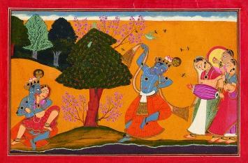 Manaku von Guler · Krishna umschwärmt, Folio aus der Guler-Gitagovinda-Serie, 1730, Guler, Pahari-Gebiet, Indien, Geschenk Sammlung Horst Metzger, Museum Rietberg