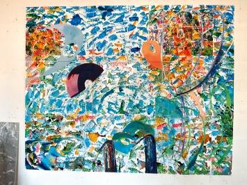 Mario Sala · Bildnis 35, 2019/20, Öl, Wasserfarben auf Papier auf Leinwand, 240x300cm, neunteilig