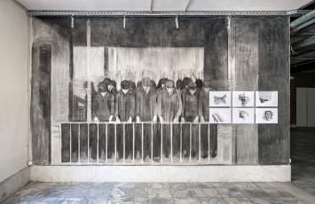Prologue, Last days of February, 2019, Wandzeichnung, Set von 6 Zeichnungen, Bleistift, Lithostift auf Papier, je 30x42cm, Ausstellungsansicht Athen, Courtesy Galerie Peter Kilchmann