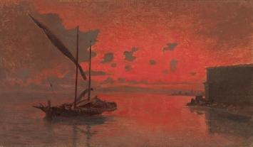 François-Louis-David Bocion · Sonnenuntergang, ohne Datierung, Öl auf Leinwand, 52x73cm, Stiftung für Kunst, Kultur und Geschichte.Foto: Philipp Hitz/SIK-ISEA