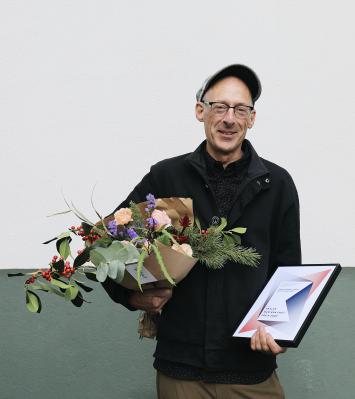 Christoph Oertli, anlässlich der Verleihung des Basler Film- und Medienkunstpreis, 2020. Foto: Flavia Schaub