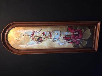 Der Erzengel Gabriel bestraft den roten Dämon, Tempera auf Gips 120 x 40, 2020