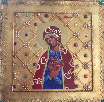Die rote Madonna, Tempera auf Holz, 50 x 40, 2020