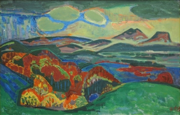 Otto Dix (1891-1969), Grüne Landschaft, 1948, Öl auf Karton, Sammlung Kunstmuseum Singen, (c) VG Bild-Kunst, Bonn 2019