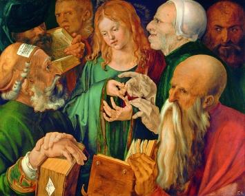 Albrecht Dürer,Der zwölfjährige Jesus unter den Schriftgelehrten, 1506, Öl auf Holz,Courtesy Museum Thyssen-Bornemisza Madrid/Scala, Florenz