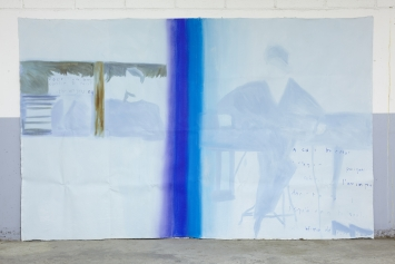 "Emmanuelle Castellan, ""double page spreads: that infinitesimal tear in the world"", Öl und Acryl auf ungespannter Leinwand, 200 x 300 cm, 2020"