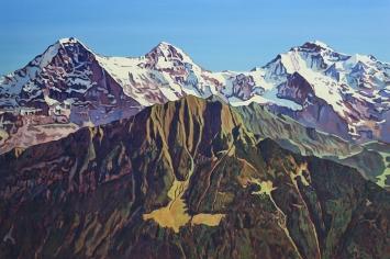 Eiger, Mönch und Jungfrau mit dem Männlichen von der Schynige Platte aus, Oel auf Leinwand, 200 x 300, 2020
