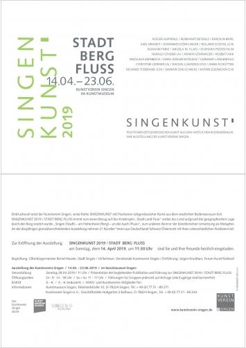 """Einladungskarte zur Vernissage der Ausstellung """"SingenKunst 2019 Stadt Berg Fluss"""", der Ausstellung des Kunstvereins Singen im Kunstmuseum Singen"""