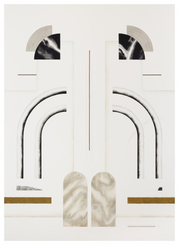 Elena AlonsoUntitled (Façade-Fronton 5), 2019Mixed media on paper190 x 137cm