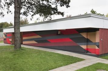 Rita Ernst, «Longline», 2019, Tennisanlage Mythenquia, Fachstelle Kunst und Bau, Amt für Hochbauten, Stadt Zürich, Foto: Pietro Mattioli