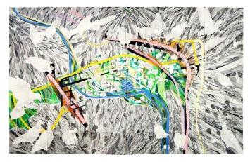Esther Ernst (*1977), Taubenloch, 2017, Bleistift, Buntstift und Tusche auf gefaltetem Papier, 112 x 177 cm