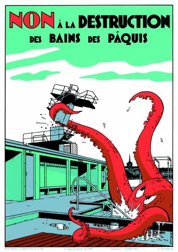 Exem, Non à la destruction des Bains de Pâquis, Serigrafie (Atelier Christian Humbert Drotz) 1988