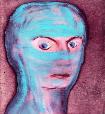 Miriam Cahn · meredith grey (gestern im TV gesehen), 15.7.2015, Öl auf Holz, 26 x 28 cm, Courtesy Meyer Riegger, Berlin/Karlsruhe und Galerie Jocelyn Wolff, Paris. Foto: Markus Tretter