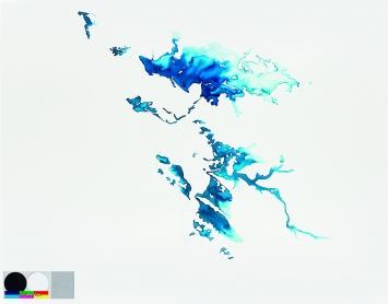 Terre-Mer (L'île d'Elle), 2014, Crayon et aquarelle sur papier, 75x109cm, Musée d'art du Valais, Sion.Foto: Michel Martinez