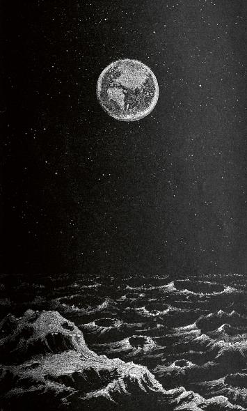 Die Erde, vom Monde aus gesehen, in: Otto Ule, Die Wunder der Sternenwelt – Ein Ausflug in den Himmelsraum, Leipzig 1877.