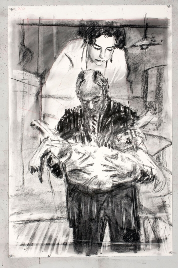 William Kentridge · Drawing for Other Faces (Felicia, Sydney and baby), 2011, Kohle und Farbstift auf Papier, 165,5 x 90 cm, Courtesy Goodman Gallery