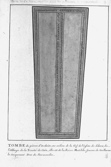 Louis Boudan für den Antiquar François-Roger de Gaignières, Grabmal für Mathilde von Flandern (gest. 1083), Abbaye-aux-Dames, Caen, 1698/1702, Oxford, Bodleian Library