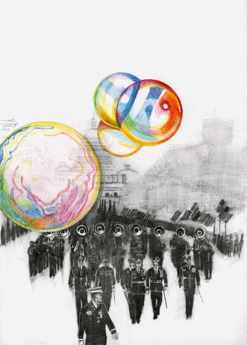 The Blow-Up Regime, Parade, 2020, Farbstift und Bleistift auf Papier, 42 x 30 cm, Courtesy Galerie Peter Kilchmann
