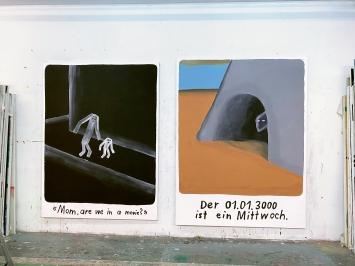 Mom, are we in a movie?, 2021, Gouache/Acryl auf Leinwand, 190x150cm; Der 01.01.3000 ist ein Mittwoch, 2021, Gouache/Acryl auf Leinwand, 200x160cm