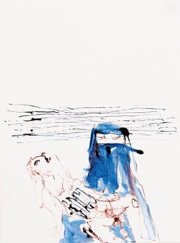Körper mit Gurt im Tuch, 2018, Tusche auf Papier, 36x27cm ©ProLitteris