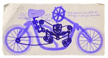 Josef H. (1876–?) · ohne Titel, 13.5.1923, Fahrrad, Bleistift und Kopierstift auf kariertem Papier, 15,1x26,9cm, Sammlung Königsfelden, PDAG, Windisch