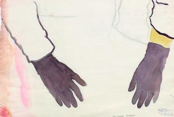 Gertrud Schwyzer (1896–1970) · ohne Titel, undatiert, Ärmel und schwarze Handschuhe, Wasserfarbe, Bleistift auf Papier, 21x31cm