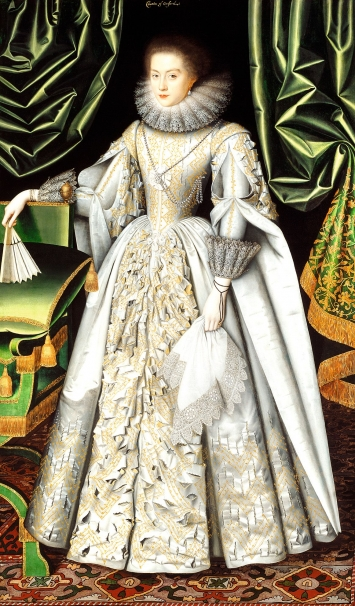 William Larkin · Portrait of Diana Cecil, later Countess of Oxford, circa 1614−1618, Öl auf Leinwand, 206 x 120 cm, Iveagh Bequest (Kenwood, London)
