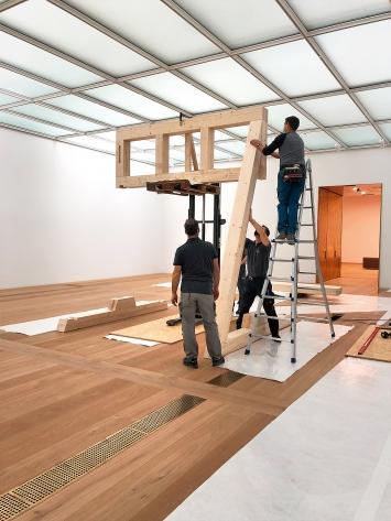 Aufbau der Glockenstühle in der Kunsthauserweiterung Zürich.Foto: Mirjam Varadinis