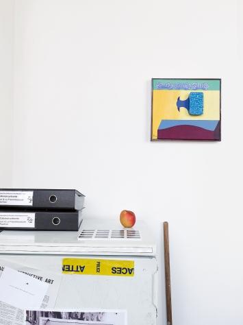 Max Kohler · Objet volant et paysage, 1972, acrylique sur toile, 28x31cm, pour Ellipse/Préambule I& II, du 9 février au 23 mars 2019, exposition ‹Knock on Wood›, de Tom Johnson & Martin Riches.Photo: David Gagnebin-de Bons
