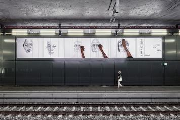 Phoebe Boswell · Platform, 2019, Animation en time-lapse de 31 portraits, crayon sur papier, diffusion en boucle aléatoire double canal, 1er écran 18'40'', 2e écran 25'50'', Œuvre produite par le Fonds cantonal d'art contemporain, Genève.Photo: Serge Frühauf