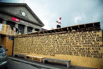 Robert Walser-Sculpture, Bau der Plattform. 2019, alle Bilder ©ProLitteris.Fotos: Enrique Muñoz García