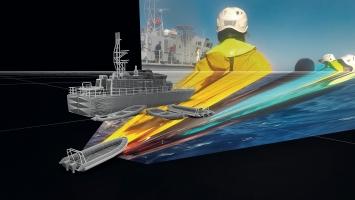 Sea Watch vs Libyan Coast Guard. Un'immagine proiettata su un modello 3D per ricostruire la complicata scena delle operazioni di ricerca e salvataggio della Guardia Costiera Libica e delle navi delle ONG il 6 novembre 2017.Foto: Forensic Oceanography and Forensic Architecture, 2018