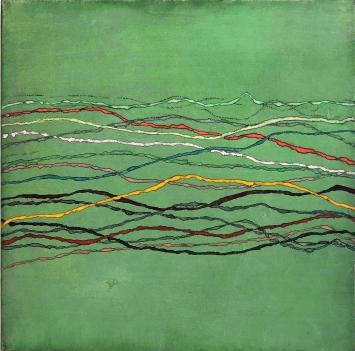 Maremma, Orizzonti, grün, 2017, Pigmente auf Japanpapier auf Leinwand, 42x42 cm