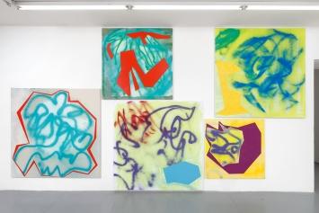 Aimée, 2020, Acryl auf Leinen/Baumwolle, Ausstellungsansicht Villa du Parc, Annemasse.Foto: Aurélien Mole
