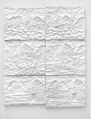 Kalender, 2020 (Detail), Gips, 26-teilig, je ca. 50x55x3 cm.Foto: Marc Latzel