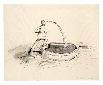 Myself as a Marble Fountain, 1967, Feder mit Tusche, laviert, auf Papier, 48,3x60,8cm,Emanuel Hoffmann-Stiftung, Depositum in der Öffentlichen Kunstsammlung Basel ©ProLitteris.Foto: Martin P. Bühler