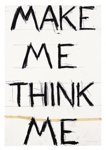 Make Me Think Me, 1993, Bleistift und Klebeband auf Papier, 142x97,2cm, Sammlung Froehlich, Stuttgart ©ProLitteris.Foto: Dorothy Zeidman