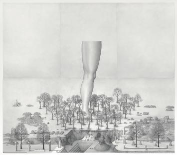 Paul Noble · You Worm, Kneel, 2014–2015, Bleistift auf Papier. Courtesy Gagosian Gallery