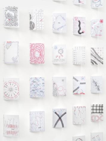Joy in Paperwork: The Archive, 2016, Druckertinte-Kopien von 1000 Stempelzeichnungen auf Papier in Zeigetaschen, Ausstellungsansicht Museum Haus Konstruktiv, 2020.Foto: Stefan Altenburger