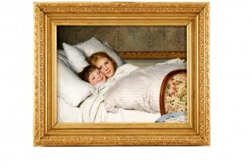 Albert Anker · Zwei erwachende Kinder, 1891, Öl auf Leinwand, 59x79 cm, Stiftung für Kunst, Kultur und Geschichte.Foto: SKKG