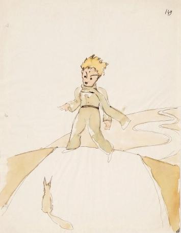 Antoine de Saint-Exupéry · Der kleine Prinz im Gespräch mit dem Fuchs, Studie für die Illustration von ‹Der kleine Prinz›, ohne Datierung, Aquarell und Tusche auf Papier, Stiftung für Kunst, Kultur und Geschichte ©SKKG