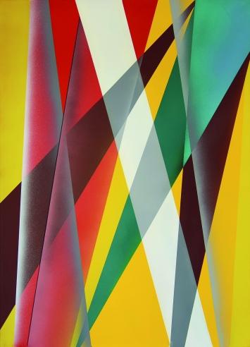 O.T. (Autobinäres Stereobild), ca. 1984, Acryl auf Leinwand, 160x115cm ©ProLitteris