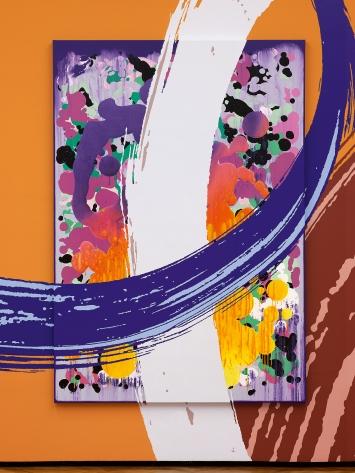 Lange Arme, kurze Beine (Detail), 2020, Mixed Media direkt auf Wand und Leinwand, 550x2301cm, Courtesy Galerie Mark Müller, Zürich, und Sfeir-Semler Gallery, Hamburg/Beirut, und die Künstlerin.Foto: David Aebi